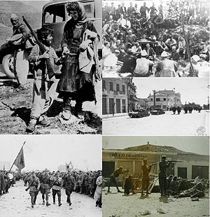 World War II in Albania - Clockwise from top left: Albanian refugees crossing the border to Yugoslavia in April 12, 1939, Ballists and Communists converse during Mukje Agreement 1943, Italian troops in Durrës, Communist Partisans fighting in Tirana 1944,Partisans march through Tirana after liberating it 28 November 1944