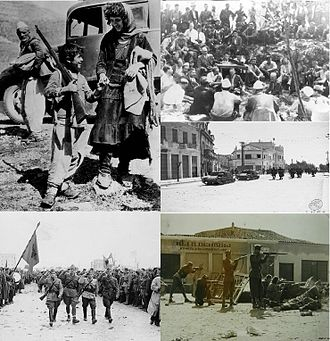 World War II in Albania - Clockwise from top left: Albanian refugees crossing the border to Yugoslavia in April 12, 1939, Ballists and Communists converse during Mukje Agreement 1943, Italian troops in Durrës, Communist Partisans fighting in Tirana 1944, Partisans march through Tirana after liberating it 28 November 1944