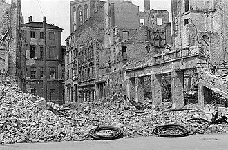 Wirtschaftswunder - War damage in a German city in Saxony in 1945
