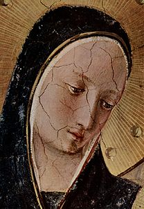 ANGELICO, Fra Mary with the Christ Child and Saints (detail) 1437-1446