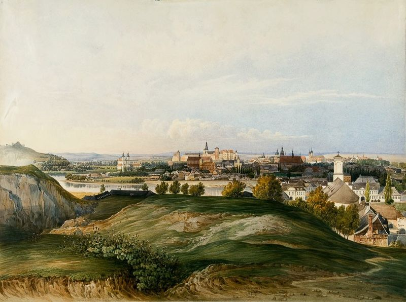 A peu près la même vue panoramique sur Cracovie en 1845 par Franciszek Ksawery Siemianowski.