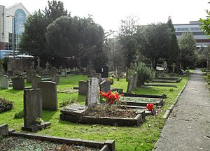 Friary Church of St Francis and St Anthony, Crawley - The burial ground seen from the northwest corner