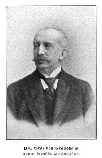 Minister of Foreign Affairs (Bavaria) - Friedrich Krafft Freiherr von Crailsheim, longest-serving Minister of Foreign Affairs of Bavaria, in office from 1880 to 1903.