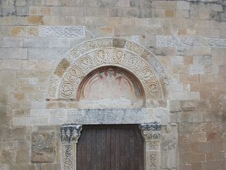 Capestrano - Front door of St Peter ad Oratorium in Capestrano