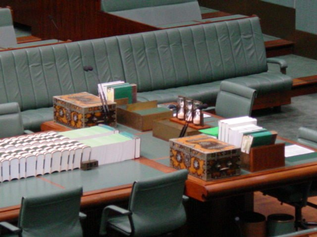 Frontbench and dispatch box, Parliament House, Canberra