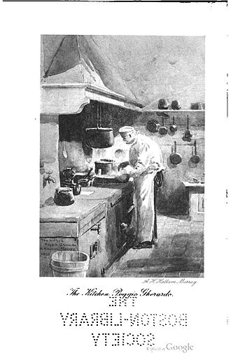 Janet Ross - Frontispiece of Leaves From Our Tuscan Kitchen, showing Chef Volpi in the kitchen of Poggio Gherardo