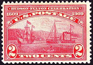 English: US Postage Stamp, Fulton on the Hudso...