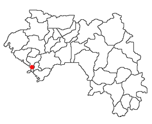 Location of Dubréka Prefecture and seat in Guinea.