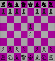 A screenshot of the GNU Chess program in graphic mode showing the chessboard with Unicode characters.
