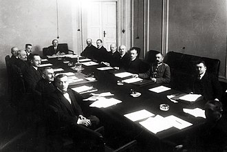 Prime Minister of Poland - The cabinet of Prime Minister Leopold Skulski in session in 1920. Due to the deep political divides of the early Second Republic, governments were short-lived, frequently falling within months.
