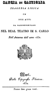 Gaetano Donizetti - Sancia di Castiglia - title page of the libretto - Naples 1832.png