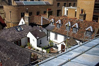 Cambridge University Catholic Chaplaincy - Garden of Fisher House from the upper floor of the Central Library