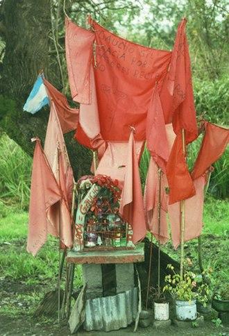 Gauchito Gil - Traditional roadside shrine to Gauchito Gil in Santiago del Estero Province.