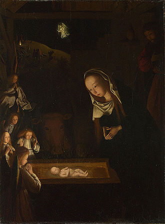 Chiaroscuro - Nativity at Night by Geertgen tot Sint Jans, c. 1490, after a composition by Hugo van der Goes of c. 1470; sources of light are the infant Jesus, the shepherds' fire on the hill behind, and the angel who appears to them.