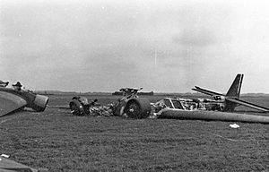Battle for The Hague - Destroyed German Junkers Ju 52 aircraft at Valkenburg