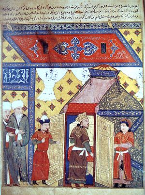 "Religious conversion - Conversion of Ghazan. Ghazan was born and raised as a Christian, studied Buddhism, and converted to Islam upon accession to the throne. Illustration from: ""World History"", Rachid Ad-Din, 14th century."