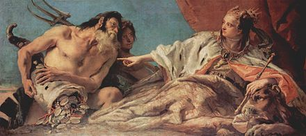Giovanni Battista Tiepolo, Neptune offers the wealth of the sea to Venice, 1748-1750. This painting is an allegory of the power of the Republic of Venice. Giovanni Battista Tiepolo 080.jpg