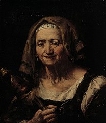 An old woman with a distaff