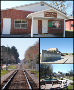 Top, left to right: Glen St. Mary Town Hall, CSX Tallahassee Subdivision railroad, Baker County High School, Celebration Park
