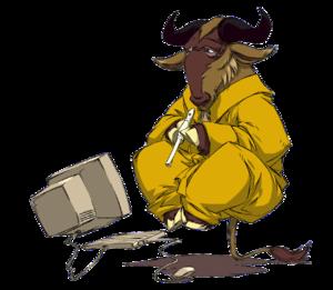 GNU Savannah - The levitating, meditating, flute-playing gnu logo used by GNU Savannah
