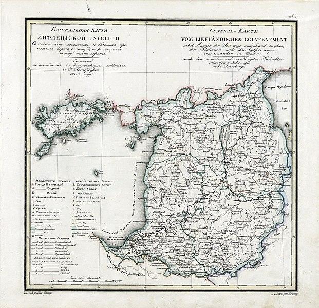 Karte des Gouvernements Livland