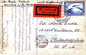 Zeppelin mail - Postcard flown on the first North American flight of the Graf Zeppelin (1928)