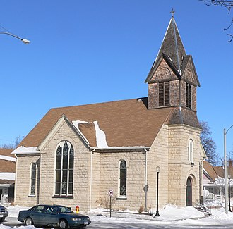 National Register of Historic Places listings in Hall County, Nebraska - Image: Grand Island Ev Lutheran Kirche from SW