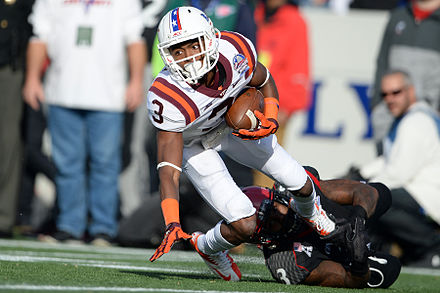 The Virginia Tech Hokies football team has the second-longest bowl game streak in the nation. Greg Stroman at the 2014 Military Bowl.jpg