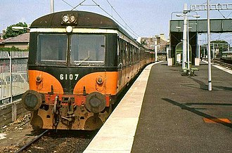 CIÉ 2600 Class - The Greystones  shuttle, headed by driving trailer 6107, at Bray in July 1986