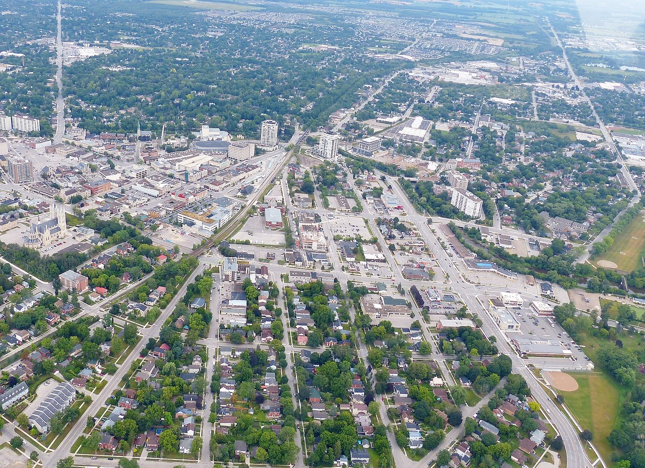 Downtown Guelph from the air