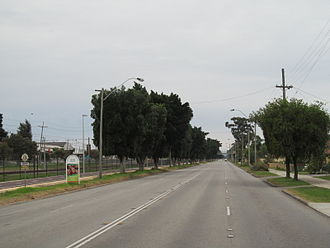 Guildford Road - View north-east along Guildford Road in Ashfield. The Midland railway line is located next to the road.