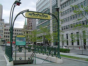 Transportation in Montreal - Metropolitan entrance to Square-Victoria-OACI station by Hector Guimard.