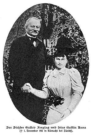 Gustav Freytag (1816–1895) Schriftsteller und Anna Strakosch, geb. Götzel in Küsnacht, Schweiz