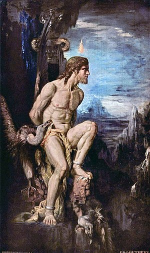 Greek mythology - Prometheus (1868 by Gustave Moreau). The myth of Prometheus first was attested by Hesiod and then constituted the basis for a tragic trilogy of plays, possibly by Aeschylus, consisting of Prometheus Bound, Prometheus Unbound, and Prometheus Pyrphoros.