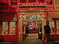 HK Disneyland USA Main Street Halloween night shop lighting Oct-2013 Cameras.JPG