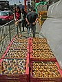 HK Yau Ma Tei Wholesale Fruit Market 油麻地果欄 Jan-2014 Waterloo Road porter hand cart paper containers 01.JPG