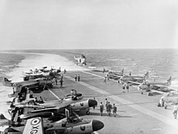 HMS Albion (R07) flight deck during Suez Crisis 1956.jpg