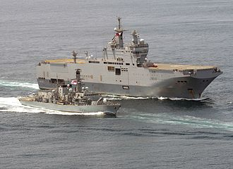 Amphibious assault ship - Bâtiment de Projection et de Commandement (BPC) Mistral of the French Navy with HMS Argyll off the West Africa coast