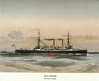 HMS Blenheim (1890) - HMS Blenheim, a print by William Mitchell