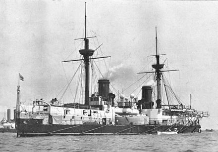 HMS Inflexible, after the replacement of her sailing masts with 'military masts' HMS Inflexible (1881).jpg