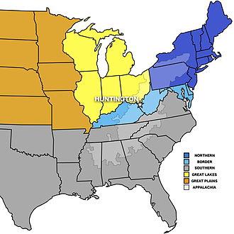 Huntington, West Virginia - Map of the geographical regions around Huntington