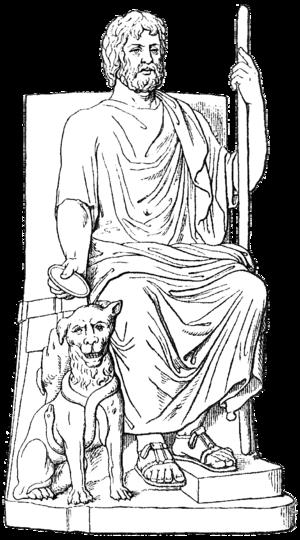 Hades and Cerberus, in Meyers Konversationslex...