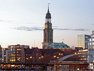 St. Michael's Church, Hamburg - View of St. Michael's from the Port of Hamburg