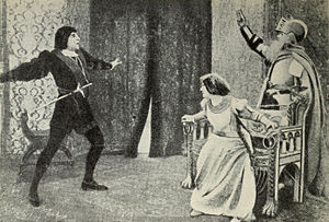 Hamlet (1908 film) - Hamlet. Jacques Grétillat, left, and Gabrielle Colonna-Romano, right.