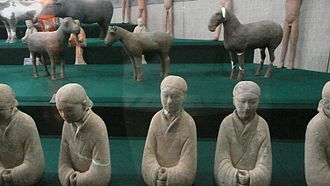 Chinese pyramids - Pottery figurines of domesticated animals and female servants dressed in silk robes, excavated from the mausoleum of Emperor Jing of Han (r. 156-141 BCE) near modern Xi'an (ancient Chang'an)