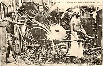 Vietnamese people - Rickshaw in Hanoi in the 19th century