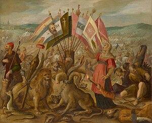 Battle of Guruslău - Image: Hans von Aachen Allegory of the Turkish war Battle of Kronstadt (Braşov)