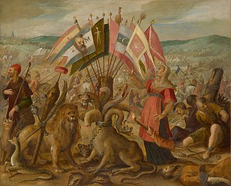 Battle of Guruslău - Image: Hans von Aachen Allegory of the Turkish war Battle of Kronstadt (Braşov)