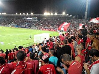 Hapoel Tel Aviv F.C. - Hapoel Tel Aviv fans at Gate 5 in Bloomfield Stadium, 2013