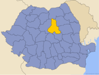 Administrative map of Romania with Harghita county highlighted